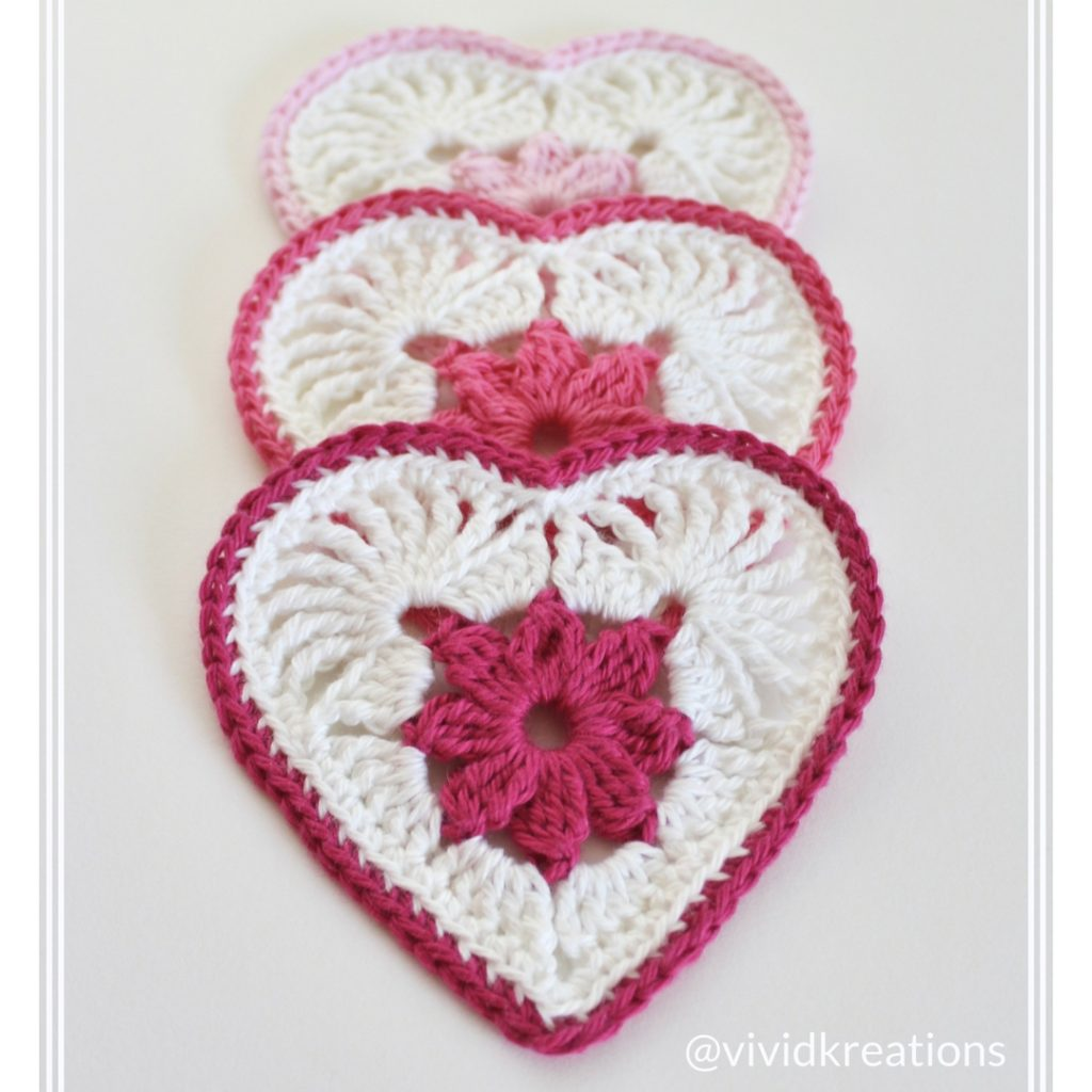 The Heart in Bloom motif in Bendigo Woollen Mills 8 ply cotton: Snow, Primrose, Blush and Pink Rose.