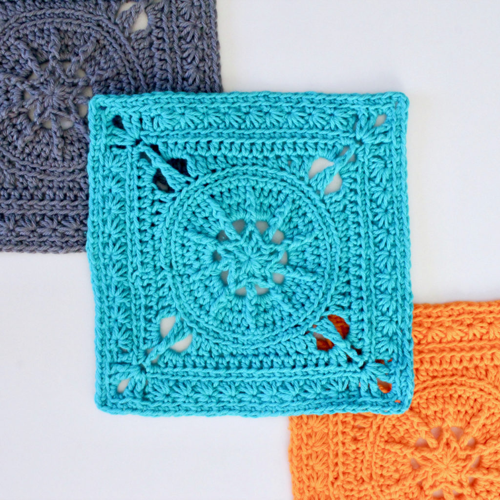 Tiny Star Square in Paintbox Cotton DK.